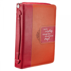 POCHETTE BIBLE, L, I CAN DO EVERYTHING […] PHIL 4.13 ROSE/ORANGE - SIMILICUIR