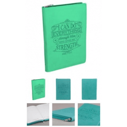 """JOURNAL RELIE CUIR TURQUOISE """"I CAN DO EVERYTHING"""", AVEC FERMETURE ECLAIR"""